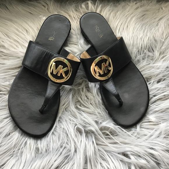 Black Michael Kors Slip Sandals Gold